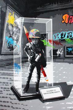 "KURAR street artist artwork named "" Soldier of expression liberty "" more details on ; kurar.fr/#home"