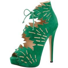 Pre-owned Charlotte Olympia Eve Green Boots ($481) ❤ liked on Polyvore featuring shoes, boots, green, suede high heel boots, platform boots, high heel boots, suede shoes and cut out platform boots