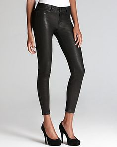 J Brand Pants - Leather Super Skinny in Noir | Bloomingdale's