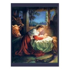 Vintage Mary and Baby Jesus Postcard - baby gifts child new born gift idea diy cyo special unique design