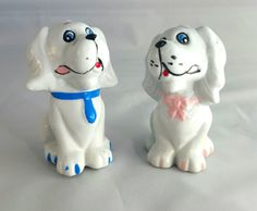 White Puppy Couple Salt and Pepper Shaker Set by RCVintageNKitsch