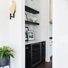 Black Kitchen Cabinets, Shaker Cabinets, Black Kitchens, Black Floating Shelves, Floating Shelves Kitchen, Tall Cabinet Storage, Locker Storage, Indoor Plant Wall, Indoor Plants