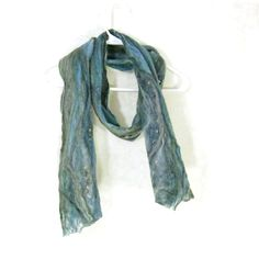 Cobweb Felted Scarf Wool Scarf Gifs for Her Winter Scarf Blue Scarf... (€45) ❤ liked on Polyvore featuring accessories, scarves, light weight scarves, blue shawl, wool shawl, wool scarves and blue scarves