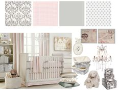 pink and grey nursery... i think the colors and denmask wall paper for the master walk in closet