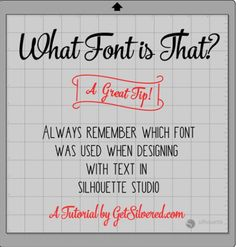 Studio – Remembering the Font you used! Tip- Triple T Tuesday Designing with Text in Silhouette Studio- remember that fontDesigning with Text in Silhouette Studio- remember that font Silhouette Fonts, Silhouette School, Silhouette Cutter, Silhouette Curio, Silhouette Cameo Machine, Silhouette Portrait, Silhouette Cameo Projects, Silhouette Design, Silhouette America