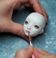 Painting face features - Polymer Clay Dolls Fairies Trolls Tutorials