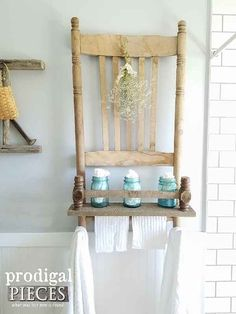 When you are in the Thrift Shop and you find a broken chair for let's say $1.00…don't just pass it by…think about this fabulous Broken Chair Repurposed Into A Shelf created by Larissa over at Prodigal Pieces.  She shows you exactly how she made this beauty and I know that you can do the same …