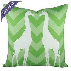 Chevron pillow with giraffes