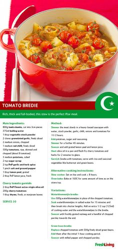 Tomato bredie is the perfect dish for wintery Shukran! Lamb Recipes, Meat Recipes, Chicken Recipes, Cooking Recipes, South African Dishes, South African Recipes, Ethnic Recipes, Lamb Cuts, Kitchens