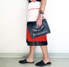 Claudia Mule from Kaali Leather Apparel with pleated skirt.