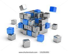 Cube assembling from blocks. 3D Illustration isolated on white