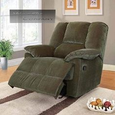 New Green Corduroy Glider Recliner Lazy Chair Seat Barcalounger Boy Living Room