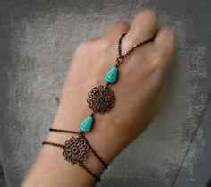 turquoise feather slave bracelet, filigree slave bracelet, bracelet ring, unique bracelet, tribal