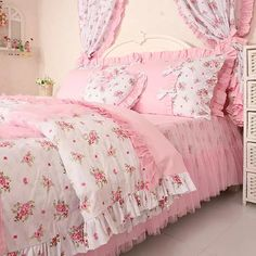 Princess lace ruffle floral bedding sets,kids soft bow duvet cover set,twin queen king - Bed and Bedcover Pink Bedding Set, Cheap Bedding Sets, Best Bedding Sets, Floral Bedding, Comforter Sets, Rose Comforter, Duvet Bedding, Bed Cover Design, Shabby Chic Bedrooms