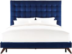 Eden Navy Velvet Bed in King from the Eden Collection made from Velvet, Wood in Navy featuring Handmade by skilled furniture craftsmen and Beautiful button tufted headboard Navy Blue Furniture, Velvet Furniture, Bedroom Furniture, King Furniture, Modern Furniture, Furniture Vintage, Bedroom Decor, Tufted Bed, Upholstered Platform Bed