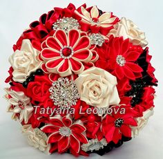 Fabric Wedding Bouquet, Brooch bouquet Red, Beige and Black