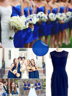 in love with the sapphire blue bridesmaid dresses in the topmost picture.