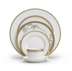 Wedgwood Vera Wang Vera Lace Gold 5-Piece Dinnerware Place Setting by Wedgwood. $89.72. Material: bone china. Vera lace gold adds certain opulence and grandeur to the vera wang dinnerware portfolio; This refined pattern weaves together the unique combination of tailored lace bands and delicate florals. N. Dishwasher safe. 5-Piece place setting - 1 dinner plate, 1 salad plate, 1 bread and butter plate, 1 teacup and 1 tea saucer. Vera lace gold adds certain opulenc...