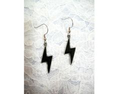 Ride The LIGHTNING Cool Lightning Bolts with BLACK Inlay Hand Cast Silver Pewter Full Pendant Size Dangling Earrings Metal Weather Jewelry