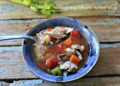 Slow Cooker Thanksgiving leftover turkey soup