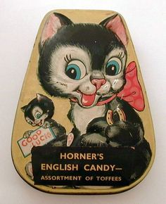 1930's Horner's Toffee Tin Good Luck Black Cats Lucky Horseshoe from industrialblonde on Ruby Lane