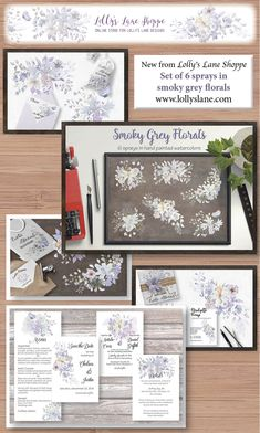 Delicate sprays in hand painted watercolors: grey, blue and lilac shades Blue Tones, Sprays, Watercolors, Lilac, Stationery, Delicate, Hand Painted, Create, Grey