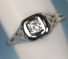 Antique Diamond Ring Filigree 14K White Gold by PastSplendors, $299.00