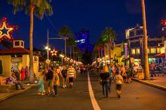 Sunset Boulevard at night at Disney's Hollywood Studios in Walt Disney World.