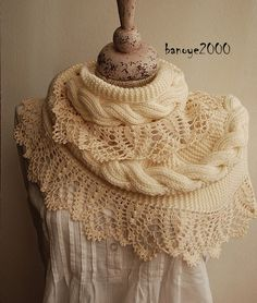 Beautiful crochet edging for a knitted scarf  ♥LCE♥ with diagram