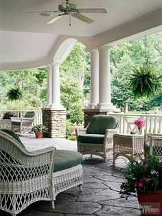 Outdoor Room Series: Covered Porches and Patios. Future back porch? Love the floor. Outdoor Rooms, Outdoor Living, Outdoor Decor, Outdoor Patios, Outdoor Kitchens, Wicker Furniture, Outdoor Furniture Sets, Wicker Dresser, Wicker Couch
