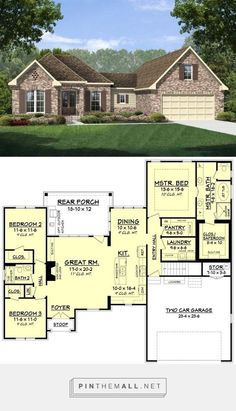 European Style House Plan - 3 Beds 2 Baths 1884 Sq/Ft Plan - a grouped images picture - Pin Them All New House Plans, Dream House Plans, Small House Plans, House Floor Plans, My Dream Home, Dream Homes, The Plan, How To Plan, European Home Decor