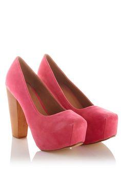 Pink Wooden Heel Square Toe Heel