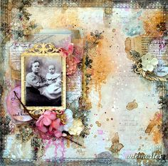 Vintage Memories ~ Amazing mixed media heritage page with a softly inked and distressed background...the colors just glow!