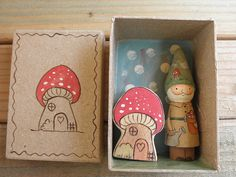 Home is Where the Heart Is Gnome Peg Doll-Fly Agaric by MomNmee Wood Peg Dolls, Clothespin Dolls, Wood Toys, Matchbox Crafts, Matchbox Art, Little Box, Little Presents, Creation Deco, Elementary Art