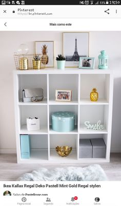 Ikea Kallax Regal Deko Pastell Mint Gold Regal stylen The post Ikea Kallax Rega. Ikea Kallax Regal Deko Pastel Mint Gold Regal style The post Ikea Kallax Regal Deko Pastel Mint Gold Regal stylen appeared first on Wohnung ideen. Bedroom Storage Ideas For Clothes, Bedroom Storage For Small Rooms, Cubicle Storage, Pinterest Room Decor, Ikea Kallax Regal, Living Room Decor, Bedroom Decor, Bedroom Ideas, Cute Room Decor
