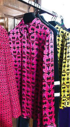 Brunette from Wall Street Escada heart print blouse