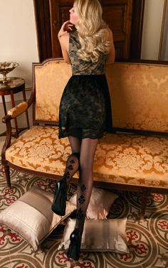 Oroblu Rosanne Black Fashion Tights - www.poshtights.com