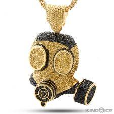 King Ice Gold Black CZ Gas Mask Pendant