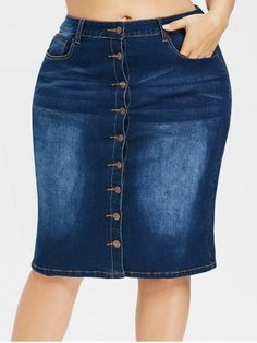 GET $50 NOW | Join RoseGal: Get YOUR $50 NOW!https://www.rosegal.com/plus-size-skirts/plus-size-faded-button-up-jean-skirt-2253014.html?seid=6384889rg2253014