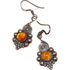 "Sterling Silver & Amber Vintage Pierced Earrings.  ON SALE NOW at ""Vintage Jewelry Stars"" shop at http://www.rubylane.com/shop/vintagejewelrystars !!"
