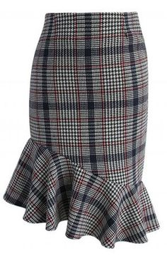 Asymmetry Tweed Frill Hem Pencil Skirt in Red - Skirt - Bottoms - Retro, Indie and Unique Fashion