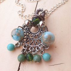 Beaded Chandelier Wire Wrapped Pendant by LollishopCreations, $28.00