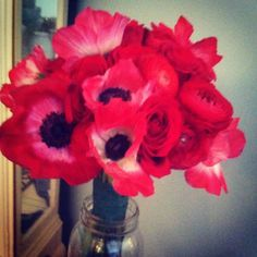 red anemone and ranunculus bouquet