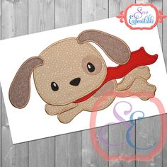 Super Dog Applique Design For Machine Embroidery INSTANT DOWNLOAD by SewEmbroidable on Etsy