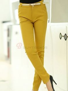 BuyTrends.com Offers Cheap Vogue Slim Mid- Waist Pure Color Pants Three Color with High Quality and Wholesale price US$40.99(70%OFF)