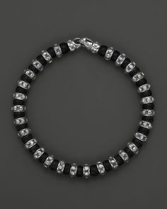 Scott Kay Men's Sterling Silver and Matte Onyx Beaded Bracelet wit