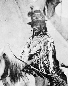 Looking Glass, a Nez Perce chief, on horseback in front of a tepee, 1877.    Source: National Archives and Records Administration