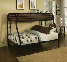 Tritan Twin XL/Queen Bunk Bed in Black - Acme Furniture home this Tritan twin XL over queen bunk bed to let your kids enjoy personal space without compromising on style. Superior quality metal for durability, built-in side ladders for easy ac Black Bedding, Bunks, Bed, Bunk Bed Designs, Red Bedding, Twin Full Bunk Bed, Loft Spaces, Acme Furniture, Bed Furniture