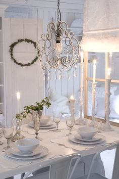 Shabby chic - beautiful white candlesticks ~ lovingly repinned by www.skipperwoodhome.co.uk
