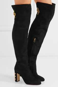 DOLCE & GABBANA Embellished suede over-the-knee boots